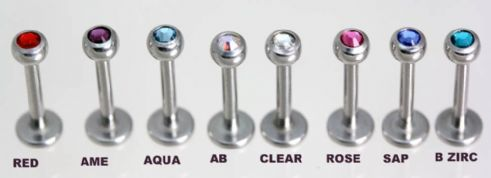 Labret Studs -Jewelled High Polish Titanium